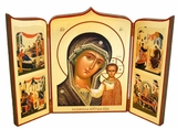Virgin of Kazan with Feast Days, Hand Enhanced Serigraph Icon Triptych
