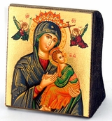 Virgin of Passion - Lady of Perpetual Help, Serigraph Mini Icon, Bronze Leaf