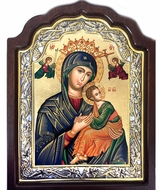 Virgin of Passion, Serigraph Orthodox Framed Icon with Stand