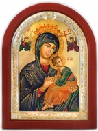 Virgin of Passion, Serigraph Orthodox  Icon in Wood /Silver Frame