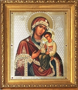 "Virgin Mary ""Peschanskaya"", Framed Icon  with Crystals and  Glass"
