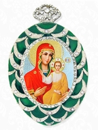 Virgin of Smolensk, Egg Shaped Framed Ornament Icon, Green