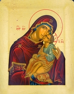 "Virgin of Tenderness (""Sweet Kiss""), Serigraph Orthodox Icon with Stand"