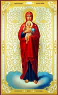 Virgin of Valaam, Orthodox Christian Gold Foiled Panel Icon