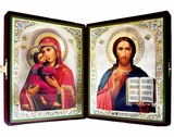 Virgin of Vladimir & Christ The Teacher  Diptych in Velvet Case