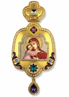 Virgin of Vladimir, Enameled Framed Icon Ornament