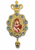 Virgin of Vladimir,   Enameled Jeweled Icon Ornament / Blue Crystals