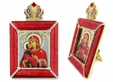 Virgin  of Vladimir Icon in Square Style Frame with Stand