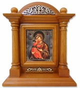 Virgin of Vladimir, Kiot  Icon  in Wood Shrine with Glass