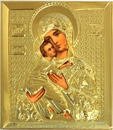 Virgin of Vladimir, Orthodox Mini Icon in Metal Oklad