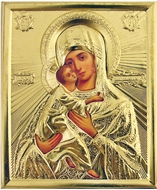 Virgin of Vladimir, Orthodox Christian Icon in Metal Oklad