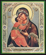 Virgin of Vladimir, Orthodox Christian Gold /Silver Foiled Icon