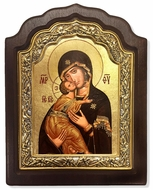 Virgin of Vladimir, Serigraph Icon in Wood / Silver 925 Frame