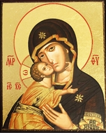 Virgin of Vladimir, Serigraph Mini Icon with Magnet