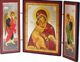 Virgin of Vladimir with Archangels Michael & Gabriel Triptych
