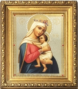 """Virgin Mary """"Refuge of Hopeless"""" (Sufferers), Framed Icon with Crystals and Glass"""