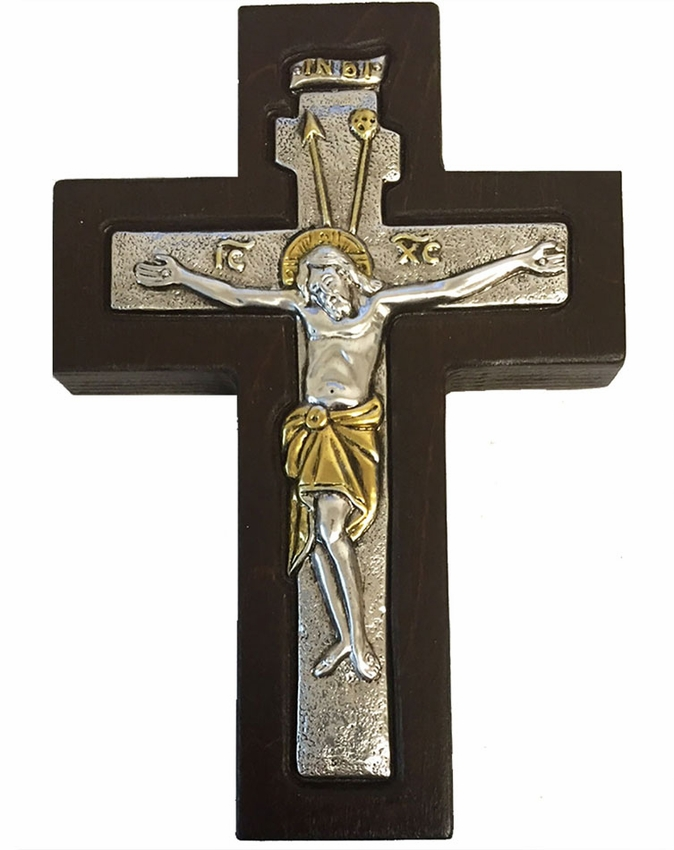 Top Wall Cross with Corpus Crucifix, Silver 925, Gold Plated - at Holy  GB46