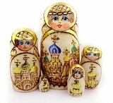 Woodburn Hand Painted 5 Nesting Doll w/Churches