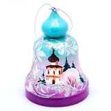 Wooden Bell, Christmas Ornament with Church