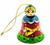 Wooden Bell, Christmas Ornament with Matreshka