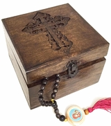 Wooden  Box with  Cross, Hand Carved, 5""