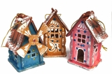 "Wooden Christmas Ornament ""House"", Hand Painted"
