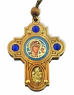Wooden Cross   on Rope with Virgin of  Kazan Icon