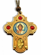 Wooden Cross   on Rope withChrist The Teacher  Icon