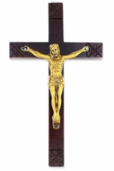 Wooden Cross with Metal Corpus Crucifix, 5 1/2""