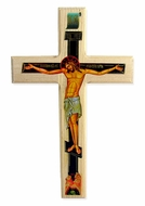 Wooden Decoupage Wall Cross, Greek Style