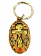 Wooden Key Chain with Cross and Incense