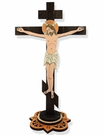 Wooden Laser Cut Standing/Wall Cross  with Corpus Crucifix