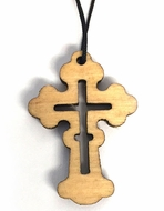 Wooden Neck Cross on Black Cord
