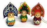 "Wooden  Ornament ""Girl with Kokoshnik"", Hand Painted, Set of 3"