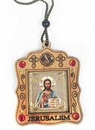 Wooden  Pendant on Rope with Icon of Christ