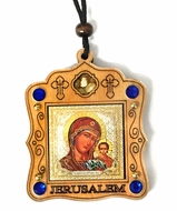 Wooden  Pendant on Rope with Icon of Theotokos