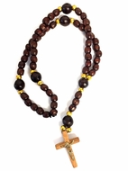 Wooden Rosary  Beads Prayer Rope with Cross, 11""
