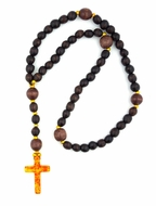 Wooden Prayer Rosary Beads Rope with Amber Color Cross, 50 Knots