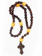 Wooden Prayer Rosary Beads Rope with Byzantine Cross , 50 Knots