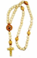 Wooden Prayer Rosary Beads  Rope with Icon, 50 Knots