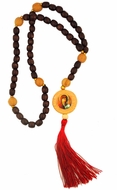 Wooden Prayer Rosary Beads  Rope with Reversible Icon, 50 Knots