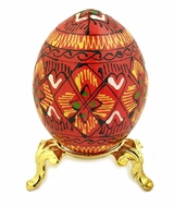 Wooden  Pysanky Egg on Metal Stand, Hand Painted, Red