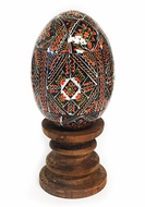Wooden  Pysanky Goose Size Egg on Stand, Hand Painted
