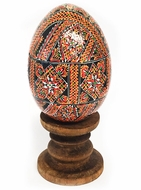 Wooden  Pysanky Egg on Stand, Hand Painted