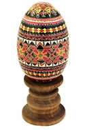 Wooden  Pysanky Goose Egg on Stand, Hand Painted