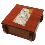 Wooden Rosary Box with Silver  Icon of  Virgin Mary