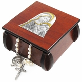 Wooden Rosary Box with Rosary and Silver Icon of  Virgin Mary