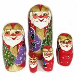 Wooden Santa 5 Nesting Dolls, Hand Carved and Hand Painted