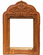 Oak Wooden Shrine with Glass for Medium Icons, Hand Carved