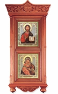 Wooden Shrine with Icons Virgin of Vladimir and Christ The Teacher